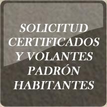 Solicitud certificados y volantes padrón de habitantes